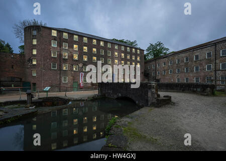 Exterior view of Cromford Mill, Cromford, Derbyshire, England, the first water-powered cotton spinning mill developed - Stock Photo