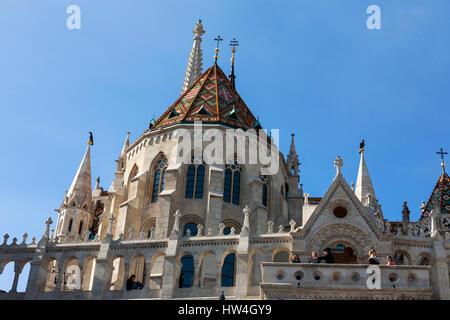 Detail of the rear of the Mátyás Church and the Fishermen's Bastion, Várhegy, Budapest, Hungary - Stock Photo
