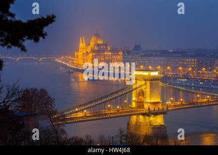 The Parliament Building and Chain Bridge over the Danube River seen from Castle Hill district. Budapest Hungary, - Stock Photo
