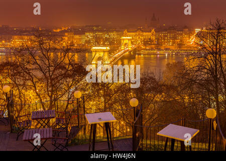 Chain Bridge over the Danube River seen from Castle Hill district. Budapest Hungary, Southeast Europe - Stock Photo