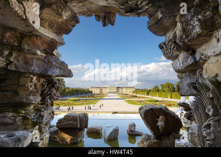 Vienna, Austria - August 14, 2016: Fountain view of the Schonbrunn Palace, former imperial summer residence and - Stock Photo