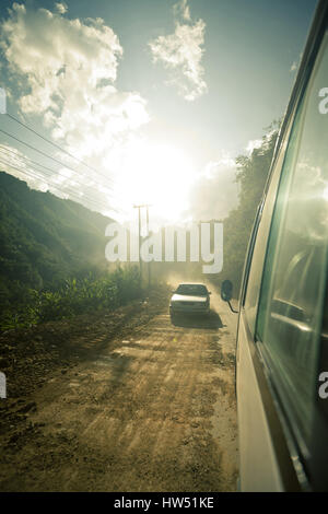 Bus on the way to the Si Phan Don also known as the 4000 islands, Laos. - Stock Photo
