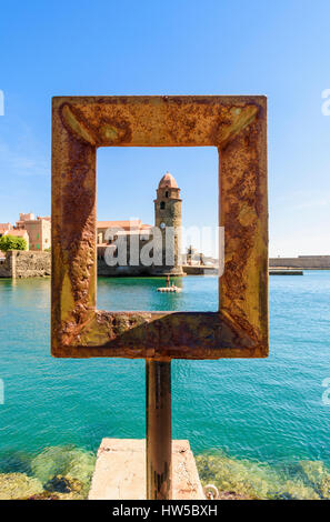 Framed bell tower of the Church of Notre Dame des Anges, Collioure, Côte Vermeille, France - Stock Photo