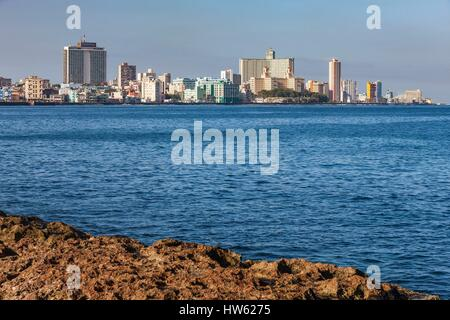 Cuba, Havana, La Habana Vieja district listed as World Heritage by UNESCO, Vedado from the Malecon - Stock Photo