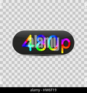High-definition video sign  isolated on grey background, design of digital devices, vector illustration. - Stock Photo