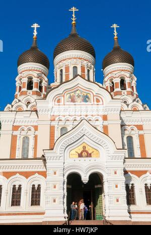 Estonia (Baltic States) Tallinn Old Town listed as World Heritage by UNESCO Russian Orthodox Alexander Nevsky cathedral - Stock Photo