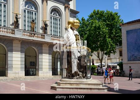 Spain Catalonia Costa Brava province of Girona Figueres Gala and Salvadore Dali Place sculpture in front of the - Stock Photo
