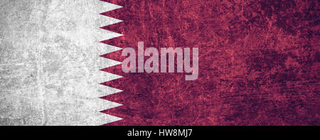 flag of Qatar or Qatari banner on scratched vintage texture - Stock Photo