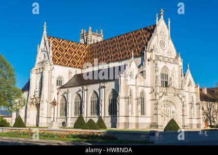 France, Ain, Bourg-en-Bresse, Saint-Nicolas-de-Tolentin de Brou church, 16th century, flamboyant gothic-style, is - Stock Photo