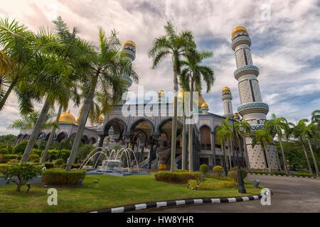 Jame'Asr Hassanil Bolkiah Mosque in Bandar Seri Begawan, Brunei - Stock Photo