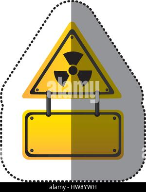 yellow metal emblem warning radiation notice sign - Stock Photo