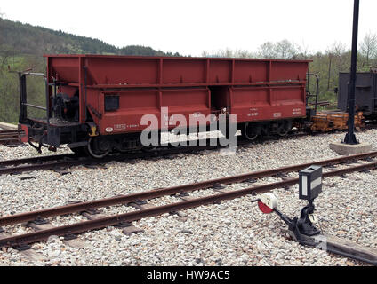 Red train wagon. Transport wagon. - Stock Photo