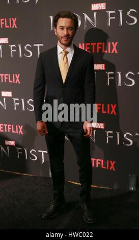 Actor Tom Pelphrey attends Marvels Iron Fist New York Screening at AMC Empire 25 - Stock Photo