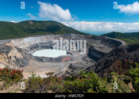 Caldera with crater lake, Poas Volcano, National Park Poas Volcano, Costa Rica - Stock Photo