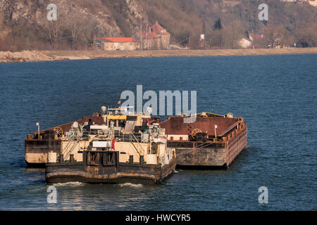 Freighter with bulk freight on the way, symbol for navigation, goods traffic, logistics, export, navigation, Frachter - Stock Photo