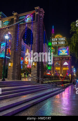 LAS VEGAS - NOV 08 : New York-New York Hotel & Casino in Las Vegas on November 08 2016 , This hotel simulates the - Stock Photo