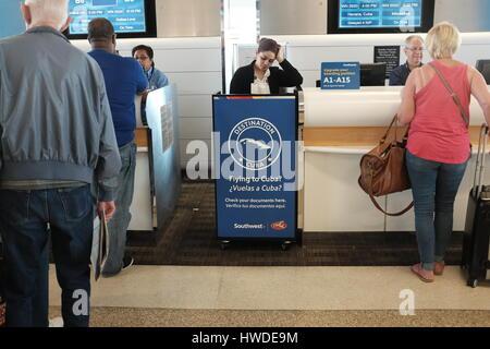 Cuban Visa kiosk Southwest Airlines 2017 - Stock Photo