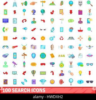 100 search icons set, cartoon style - Stock Photo