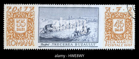 Stamp printed in Romania shows Crossing of Buzau River' by D.-A.-M. Raffet (1804-1860), Stamp Day, circa 1967. - Stock Photo