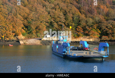 King Harry Ferry, Fal River, Cornwall, UK - Stock Photo