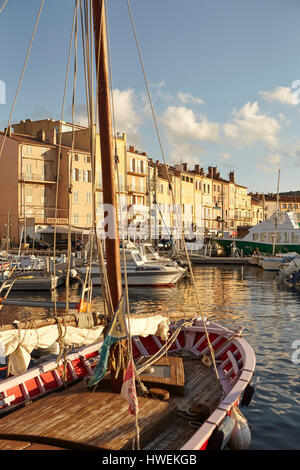 View of boats and harbour, St Tropez, Cote d'Azur, France - Stock Photo