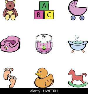 Baby things icons set, cartoon style - Stock Photo