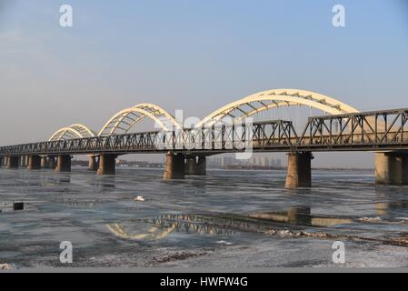 Harbi, Harbi, China. 11th Mar, 2017. Harbin, CHINA-March 11 2017: (EDITORIAL USE ONLY. CHINA OUT) .The Songhua River - Stock Photo