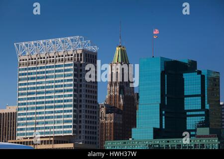 United States, Maryland, Baltimore, Inner Harbor, harborfront buildings, L to R, 10 Light Street, William Donald - Stock Photo