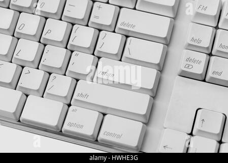 Close up of white keyboard. You can change design on the keyboard - Stock Photo