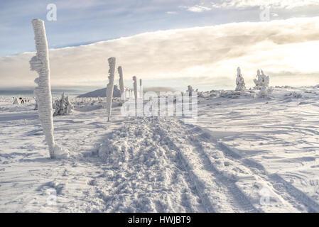 Karkonosze mountains in winter - Stock Photo