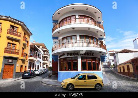 GARACHICO, TENERIFE, SPAIN-CIRCA JAN, 2016: Beautiful small colorful houses are on streets of town. The Garachico - Stock Photo