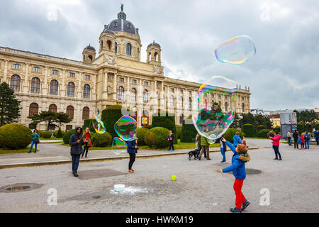 Vienna, Austria - 13 October, 2016: View of famous Natural History Museum with park and sculpture in Vienna, Austria - Stock Photo