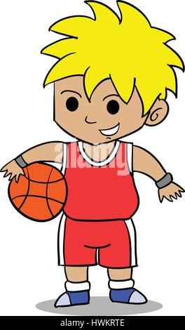 Character of boy playing basketball - Stock Photo