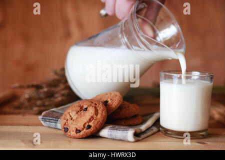 milk and cookies cereals - Stock Photo