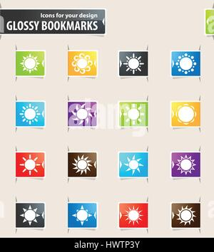 Sun icons for your design glossy bookmarks - Stock Photo
