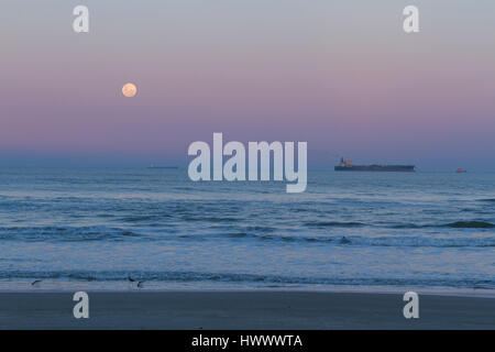 Record of the super moon on a beautiful weekend. - Stock Photo