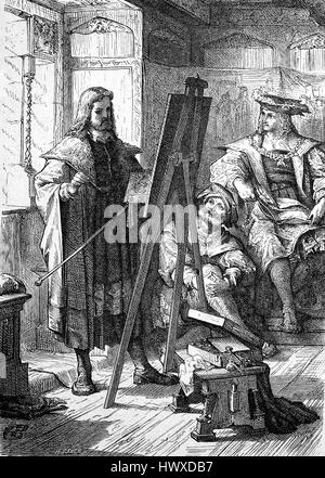 Albrecht Duerer stands at the easel and paints the portrait of Emperor Maximilian I., Germany, Albrecht Dürer, 1471 - Stock Photo
