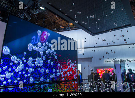 LAS VEGAS - JAN 08 : The LG booth at the CES show in Las Vegas on January 08 2017 , CES is the world's leading consumer - Stock Photo