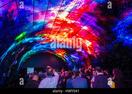 LAS VEGAS - JAN 08 : 3D video wall at the LG booth at the CES show in Las Vegas on January 08 2017 , CES is the - Stock Photo