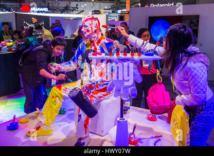 LAS VEGAS - JAN 08 : The Polaroid booth at the CES show held in Las Vegas on January 08 2017 , CES is the world's - Stock Photo
