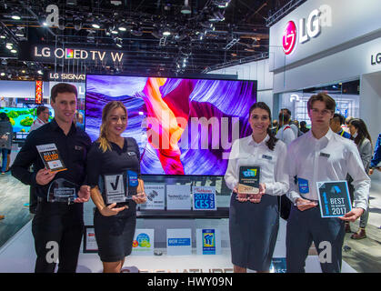 LAS VEGAS - JAN 08 : The LG booth at the CES show held in Las Vegas on January 08 2017 , CES is the world's leading - Stock Photo