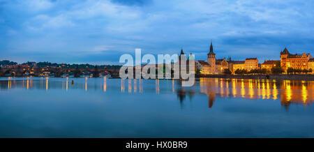 Prague city skyline panorama and Charles Bridge, Prague, Czech Republic - Stock Photo