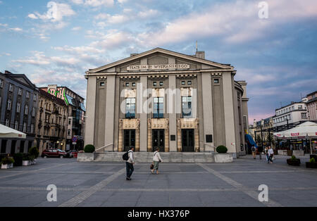 Silesian Theatre dedicated to Stanislaw Wyspianski ona a market square in downtown of Katowice city, the center - Stock Photo