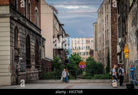 Buildings in downtown of Katowice city, the center of the Silesian Metropolis in southwestern Poland - Stock Photo