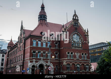Adam Mickiewicz III Secondary Comprehensive School in downtown of Katowice city, the center of the Silesian Metropolis - Stock Photo