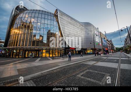 Galeria Katowicka shopping mall in downtown of Katowice city, the center of the Silesian Metropolis in southwestern - Stock Photo