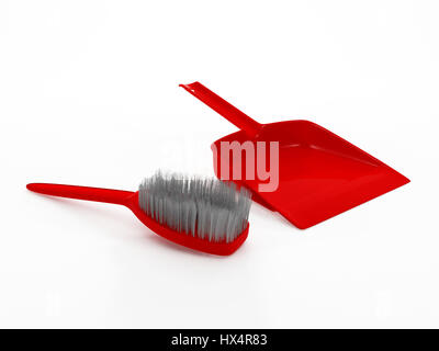 3D red dustpan and broom stick isolated on white background - Stock Photo