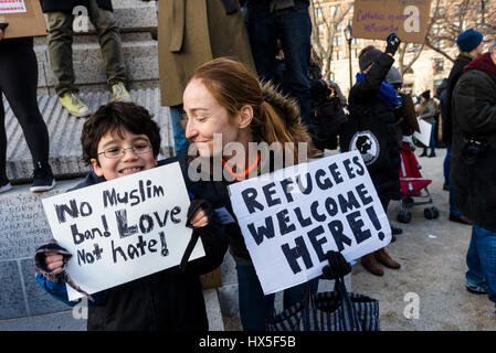 New York, USA - 29 January 2017 - March & Rally: We Will End the Refugee & Muslim Ban. Thousands of New Yorkers - Stock Photo