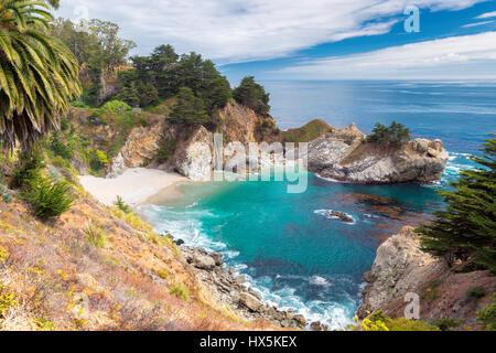California Beach and Falls, Julia Pfeiffer Beach, McWay Falls. - Stock Photo