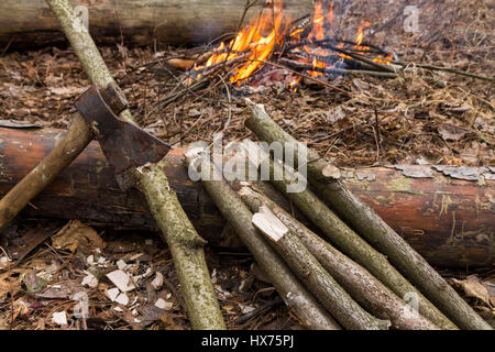 Ax and logs on a background of fire. Preparation of wood for the fire. - Stock Photo